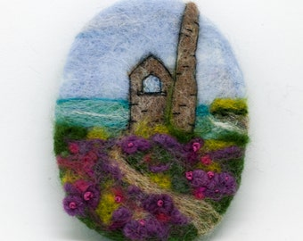 "Needle Felted Brooch ,  ""Cornish Tin mine"",  Handmade, , Handmade Brooch, , Great Gift For Her, landscape, seascape, jewellery, Brooch"