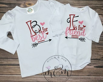Best Friends Shirt | Mommy and Me Shirt | Daddy and Me Shirt | Shirt for Twins | Friends Forever | Sister Shirts | Birth Announcement
