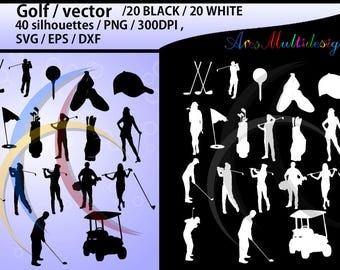 golf / golf SVG / golf silhouette / golf clipart / printable golf players / golf game set / EPS / PNG file /High Quality Vector / Dxf