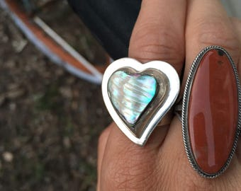 Vintage sterling silver and abalone shell ring