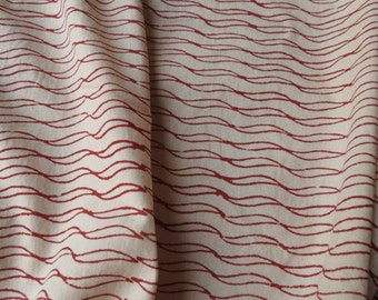 Cream and Red Block Print Fabric