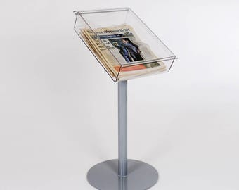 Floorstanding Newspaper or Tabloid Tray   Newspaper Freestanding Display Tray   Tabloid Holder   Newspaper Stand   Made in the UK