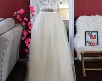 Dark Ivory Long maxi tulle skirt / Ivory floor length skirt / Bride Tulle Skirt / Custom Made Wedding Bridal Skirt / Bridesmaids Skirt