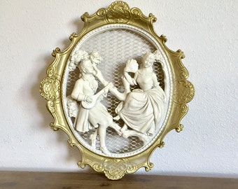 Vintage Universal Statuary Corp Chalkware Oval Wall Plaques; Victorian Couple; 3D Wall Plaque; Vintage Chalkware; Victorian Style