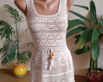 Vintage Crochet Dress / Crochet Dress / Unique Crochet Dress / Woman Dress / Cotton Crochet Dress / Handmade Dress /  Bohemian Dress / Lace