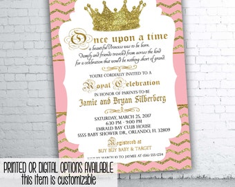 Royal Princess Pink and Gold Baby Shower Invitation