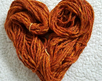 Orange Handspun Wool, Handspun Yarn, 100% Merino, Chunky Wool