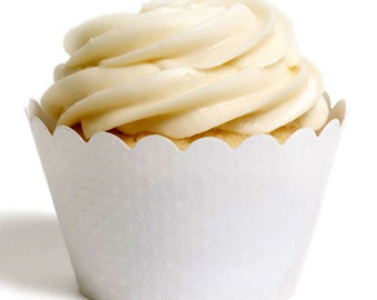 White Embossed Cupcake wrapper, Wedding cupcake wrappers (Set of 12)