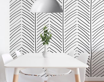 Geometric Wallpaper, Self Adhesive Wallpaper, Modern Interiors, Herringbone Pattern