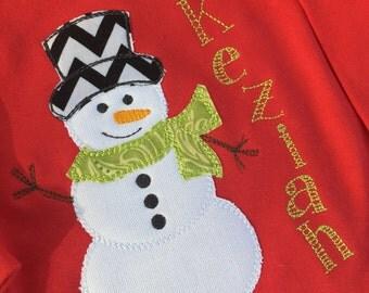Personalized Appliqué Snowman T-Shirt