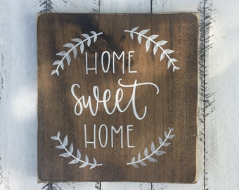 Home Sweet Home - Wood Sign | Custom Wood Sign | Hand Painted Sign | Rustic Home Decor | Rustic Decor | Farmhouse Decor | Wall Art | Home