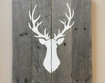 Pallet Painting, Deer Painting, Rustic Modern Wall Decor