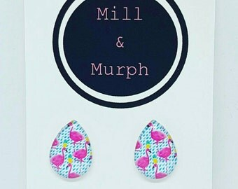 Medium Statement Flamingo Glass Teardrop Earrings Studs