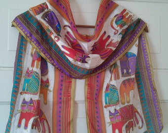 Cat Silk Scarf by Laurel Burch, collectible// American designer, silk scarf for cat lovers, feline lovers