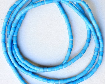 Antique 3mm Blue Venetian Glass White Hearts - Vintage African Trade Beads - 27 Inch Strand