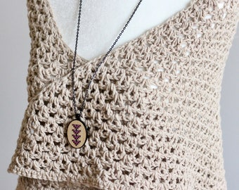 Bamboo Wood Cross Stitch Necklace Kit with Arrow Design *Modern Embroidery Necklace DIY Kit