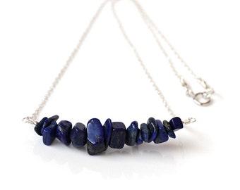 Freeform Lapis Lazuli Necklace, Blue & Gold Lapis Lazuli Bar Necklace, 925 Sterling Silver, Raw Gemstone Necklace, September Birthstone Gift