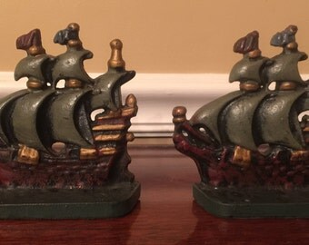 Vintage Painted Metal Ship Bookends