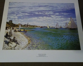 vintage Monet The Beach At Saint Adresse art print