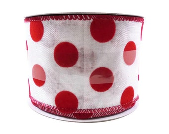 """ON SALE Wire Edge Ribbon 2 1/2"""" Wide, White with Red Polka Dots, Flocked Fabric, 8 Yard Roll, Valentine's Day, Christmas, Spool Ribbon, Wide"""