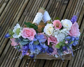 wedding bridal posy pink ivory lilac country styled