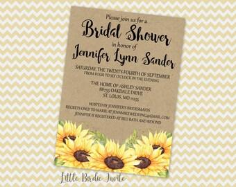 Rustic Bridal Shower Invitation | Sunflower Bridal Shower Invitation | Country Bridal Shower Invitation | Rustic Wedding Shower Invitation
