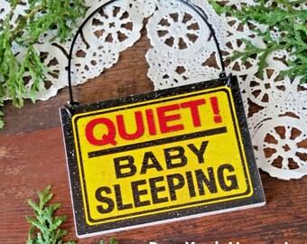 """Quiet Baby Sleeping Doorknob hanger, mini sign 2-1/2"""" x 3-3/8 hanger ornament sleeping infant newborn, Do not disturb baby, Christmas gift"""