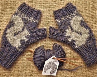 Squirrel Fingerless Gloves Knit with Heather Indigo/Gray Wool