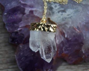 Long Clear Quartz Necklace