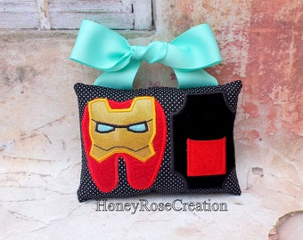 Tooth fairy pillow.Iron man tooth fairy pillow.embroidered tooth pillow.