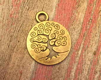 4 Bronze Tree Of Life Pendants / Tree Charms / 19x15MM / KBK