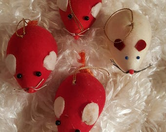 4 Christmas Mice In Red & White From Japan 1960's Felt Ornaments