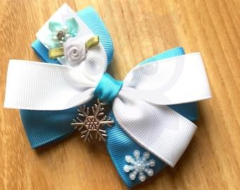 Elsa bow, Elsa headband, Snow queen bow, Snow queen headband, Princess bow, Princess headband