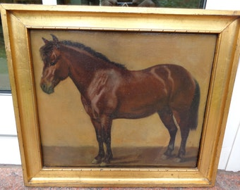 Antique painting horse pony 19th century oil on canvas beautiful antique horse painting