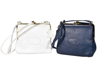 Vintage 1960's Women's Etra Blue or White Leather Kiss Lock Closure Swagger Style Shoulder Bag Purse