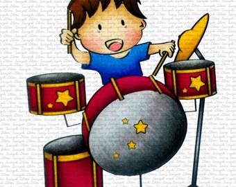 Drummer Shy Digital Stamp by Sasayaki Glitter