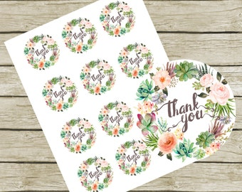 """Thank You Tags Printable. 2"""" Round Tags. Instant Download. Succulent Thank You Tags. Thank You Tags Bridal Shower. Printable Thank you Tags."""