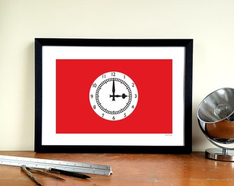 "Arsenal FC Minimalist Graphic Design Art Print - Highbury ""Clock End"""