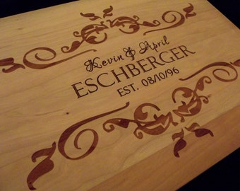 15x11 Cutting Board-Personalized Hardwood Butcher Block Perfect for Wedding, Anniversary or Christmas Gift..