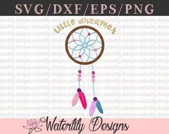 Little Dreamer SVG/DXF Cut File - Instant Download - Vector Clipart - Iron On Shirt Decal - Cricut - Silhouette - Dream catcher - Boho