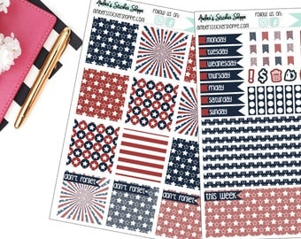 Stars & Stripes Fourth of July Weekly Kit for Mini Happy Planner