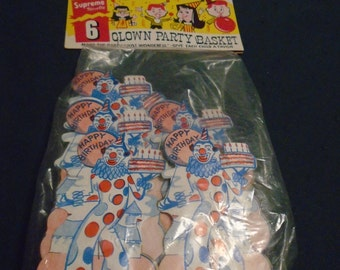 Vintage Package of 6 Clown Party baskets