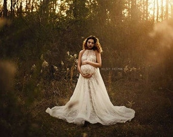 "The ""Nova"" Maternity Gown - Maternity Dress - Lace Gown - Gown for Photo Shoot - Maternity Photo - Photo Prop - Pregnancy Dress - Senior"