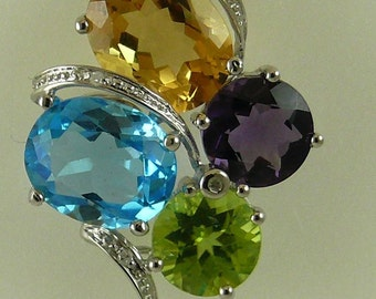 Multi-Color 11.64 ct Gemstone Pendant With 14K White Gold & 0.02 ct