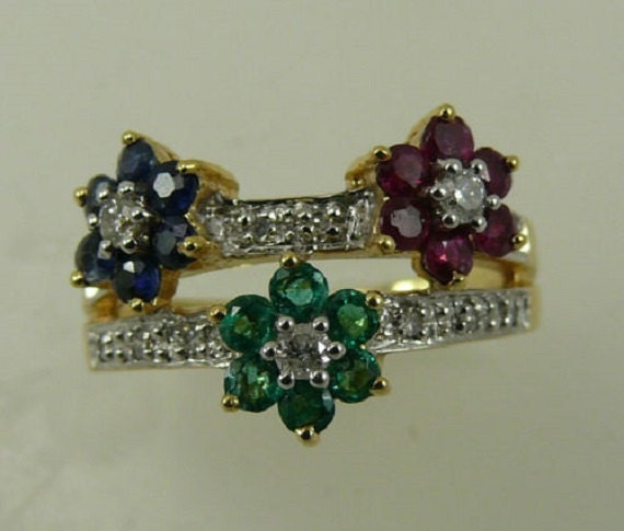 Multi Color Gemstone Ring with 14k Yellow Gold and Diamonds