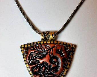 Floral Sheild Pendant Necklace