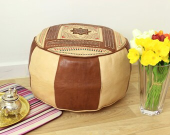 Brown and Beige Leather Moroccan Pouf, Ottoman, Handmade Leather Pouf