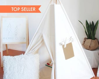 READY TO SHIP, Medium Natural Canvas Teepee, Play Tent, Kids Teepee, Childrens Teepee, Teepee Tent, Tipi, Playhouse, Canvas Teepee