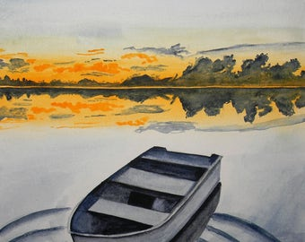 Original watercolor painting - Tempest - sunset boat