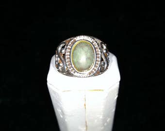 Vintage Green Stone Sterling Silver Ring Size 7 1/4 5.2g AFSP